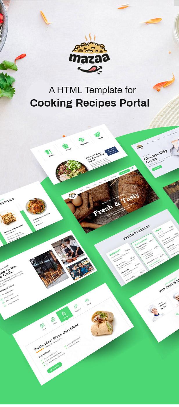 Mazaa - Responsive Restaurant or Eatery Template - 1