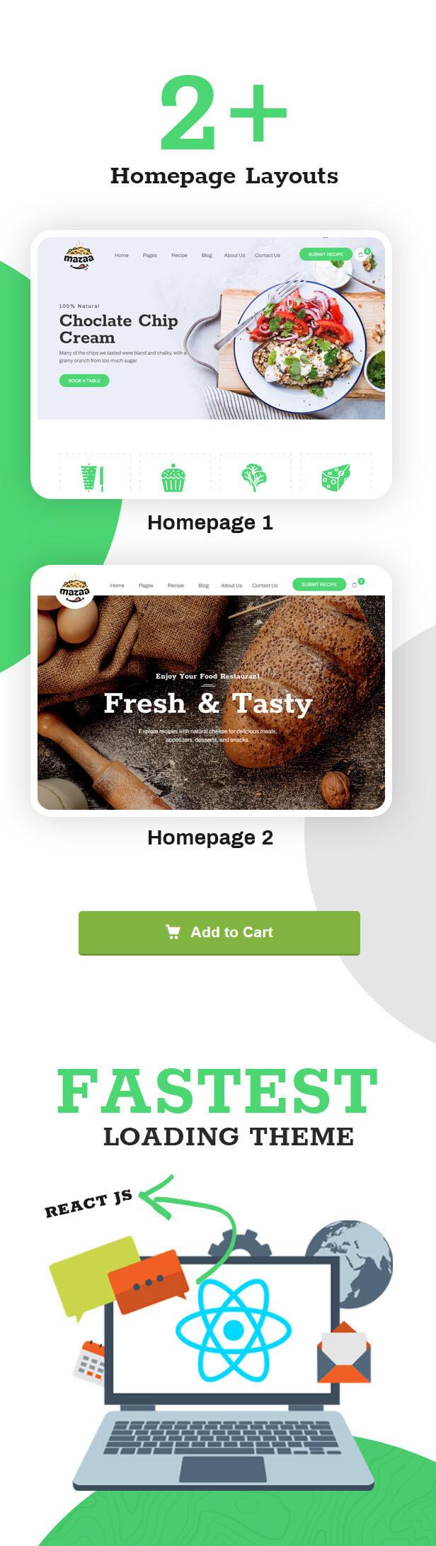 Mazaa - Responsive Restaurant or Eatery React Template - 2