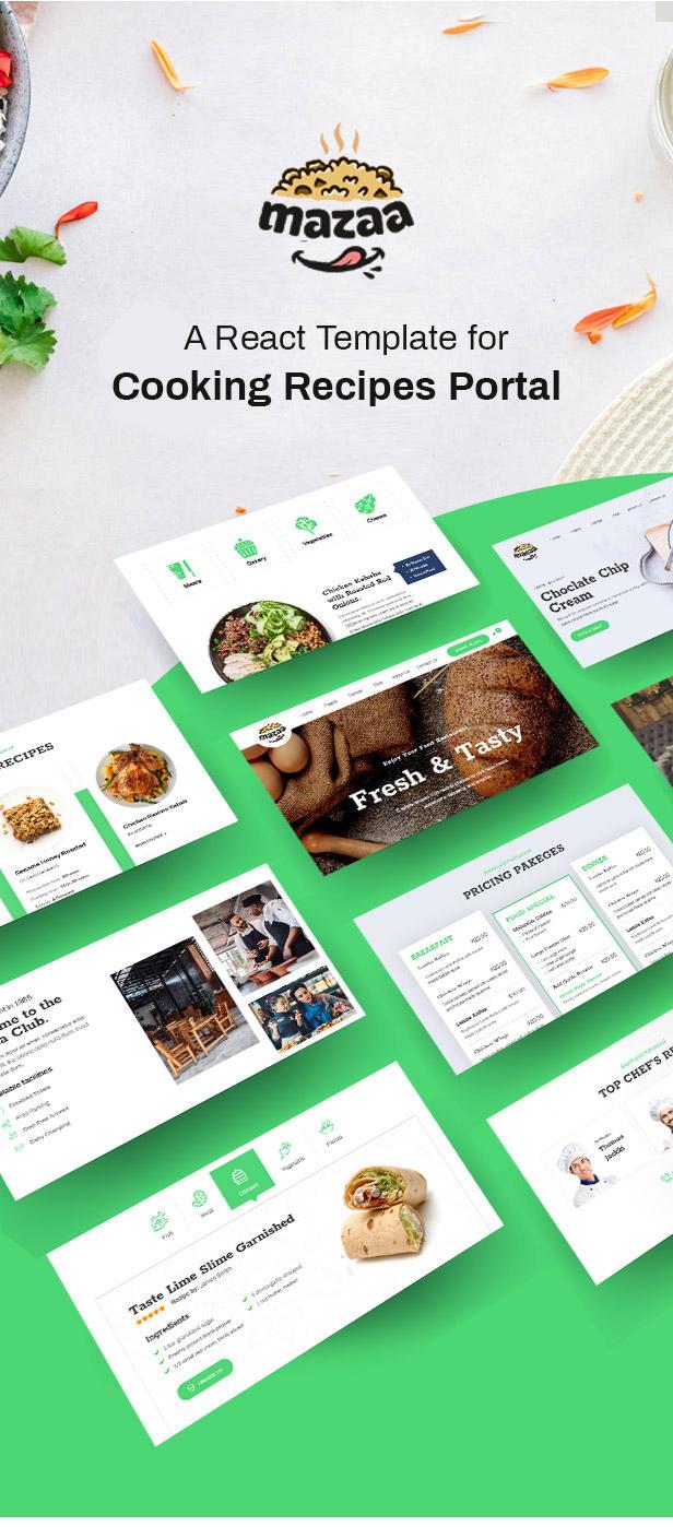 Mazaa - Responsive Restaurant or Eatery React Template - 1